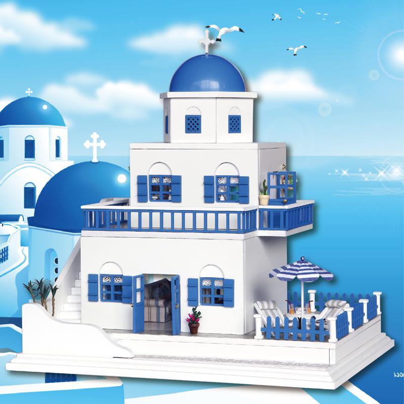 Bricolage maison de poupée en bois bleu paysage marin château palais maison de poupée miniature à monter soi-même meubles Kit chambre LED lumières cadeaux jouets pour enfants