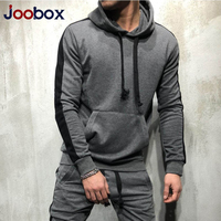 2019 Hoodies 2 Pieces Sets Tracksuit Men New Brand Autumn Winter Hooded Sweatshirt +Drawstring Pants Male Stripe Patchwork 3xl