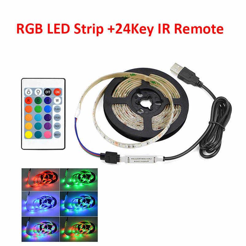 Ambilight 5V USB LED Strip Light 0.5-5 M RGB ริบบิ้นยืดหยุ่นกาวเทปกันน้ำ PC TV Backlight SMD 2835 นีออน El ลวด