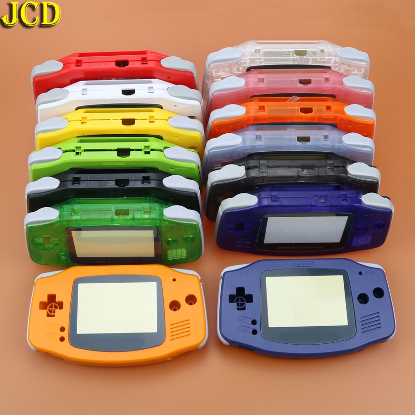 JCD 1pcs Plastic Shell Cover For GBA Console Housing Shell Case + Screen Lens Protector + Stick Label For Gameboy Advance