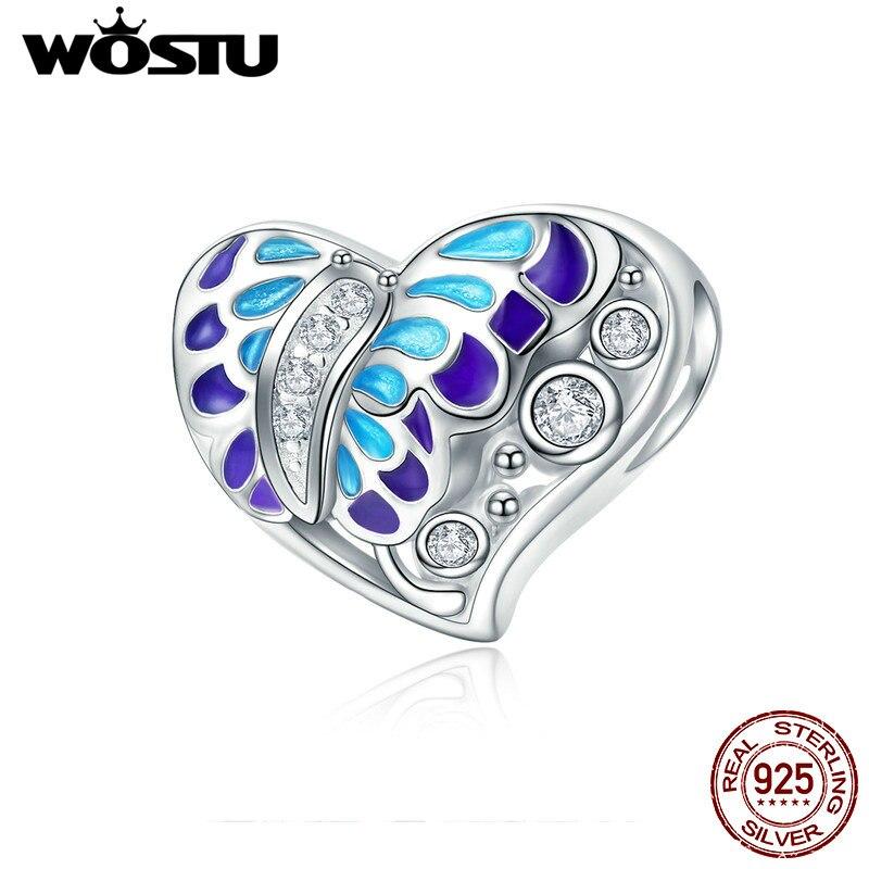 WOSTU nueva llegada genuina de plata esterlina 925 esmalte corazón fantasía mariposa encanto de cuentas para las mujeres marca pulsera CQC545