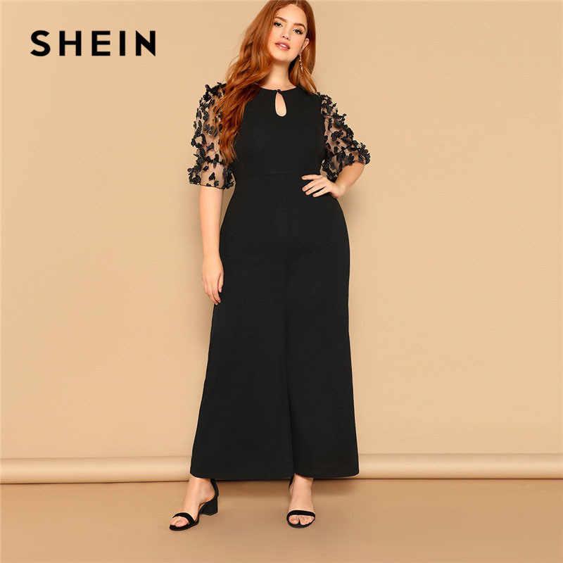 a2ff4cbbeb SHEIN Black Women Applique Half Mesh Sleeve Palazzo Plus Size Wide Leg  Jumpsuits 2019 Spring Elegant