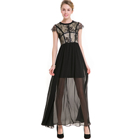 1 Piece Black Elegant Hollow Out Dress For Women 3XL Plus Size Ankle Length Gown Female