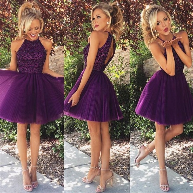 Wawy 2017 Short Party Dresses Purple Halter Neck Sleeveless Knee Length Tulle Prom Gowns Semi