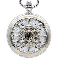 כסף מלא פלדה מכאני כיס שעון Steampunk בציר הולו אנלוגי שלד יד מתפתל ת. ד. שעון PJX1386|שעוני כיס ושעוני פוב|   -