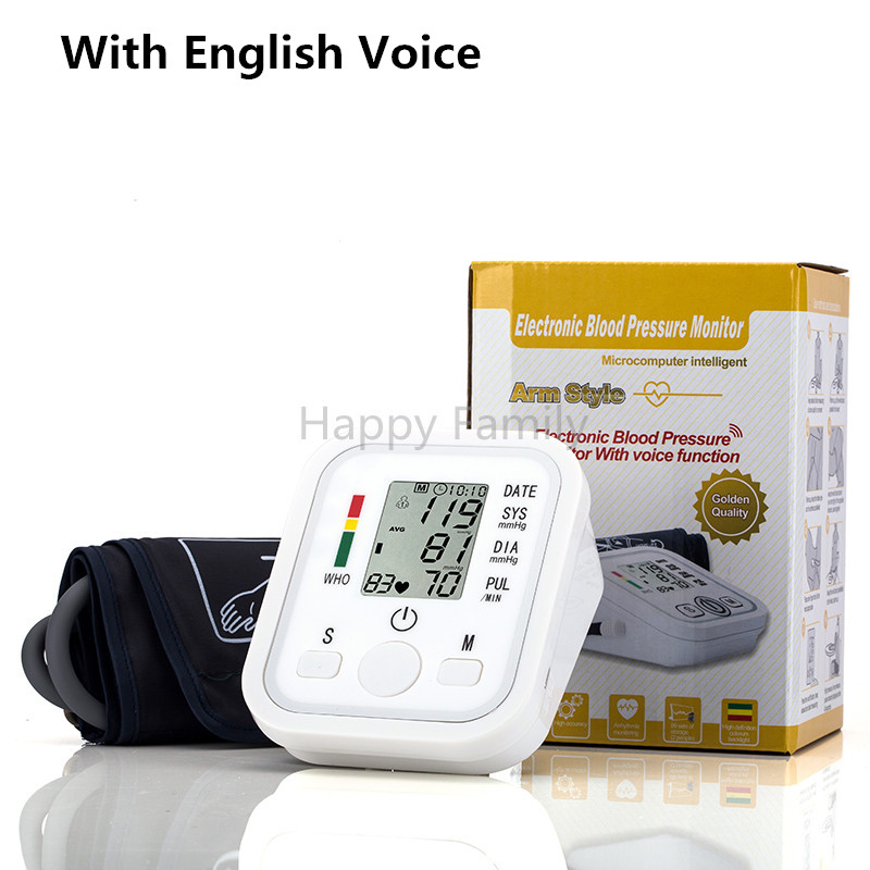 With English Voice Arm Blood Pressure Monitor Health Care Digital Upper Portable Blood Pressure Monitor meters sphygmomanometer home use blood pressure monitor health care heart monitor arm blood pressure monitor sphygmomanometer nonvoice