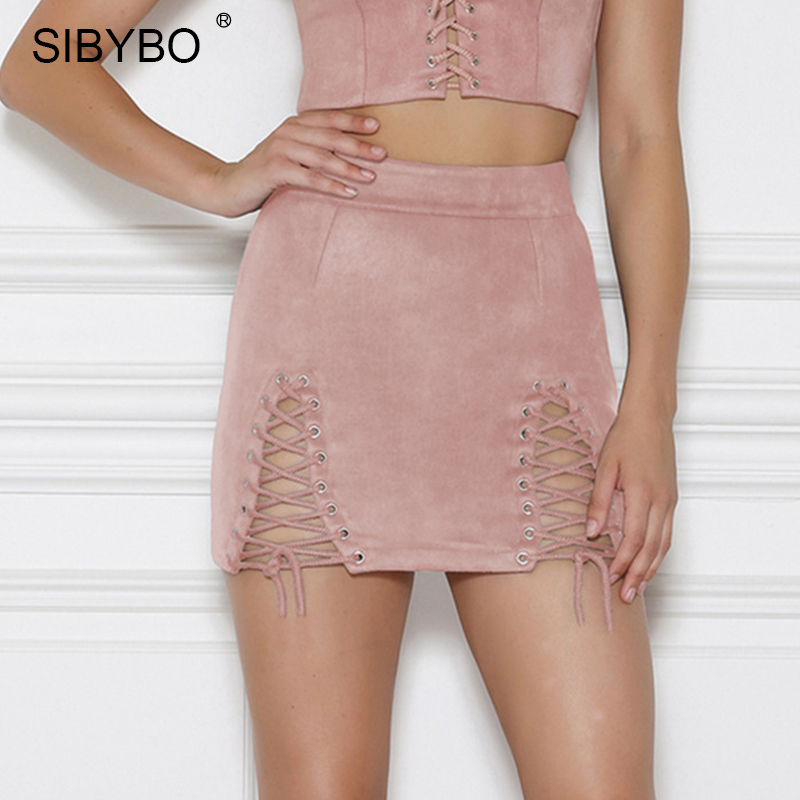 SIBYBO Lace Up Suede Leather Pencil Skirt Sexy Criss Cross High Waist  Zipper Split Mini Skirt Vintage Short Bodycon Women Skirts-in Skirts from  Women s ... 906af23c99d1
