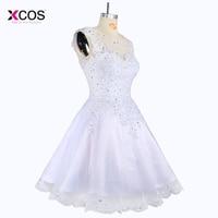 Elegant Sleeveless Short Wedding Dress Knee Length Tank Bridal Gowns Beaded Short Prom Gown Appliqued Short