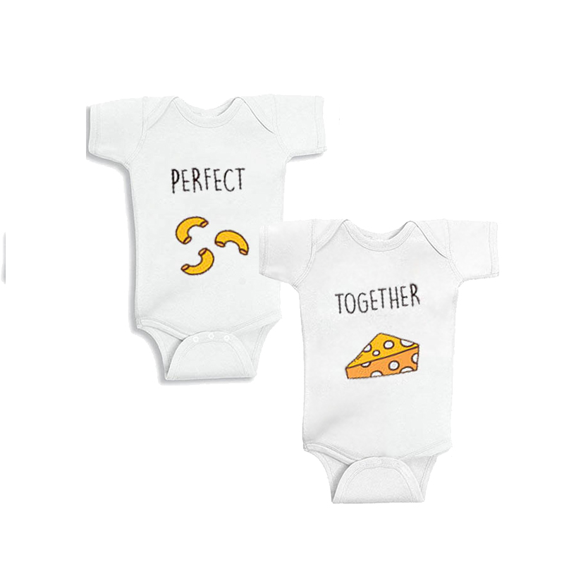 YSCULBUTOL Mac and Cheese Perfect Together Baby T-Shirt Twin Best Friend Shirts Best Friends Forever Twins Baby Bodysuit image