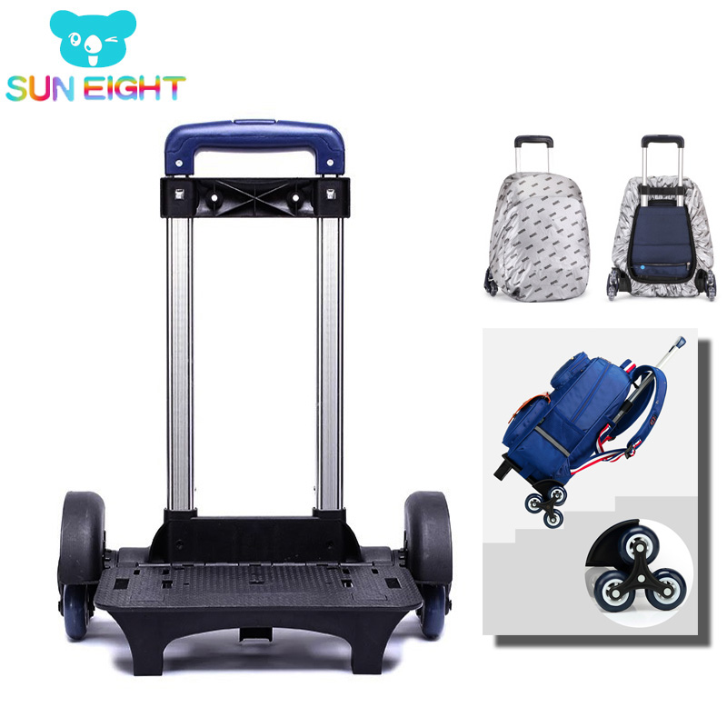 8385333faf42 SUN EIGHT Kid Trolley Backpack Wheeled Bag School Bag Luggage For Children  6 Wheels Expandable Rod
