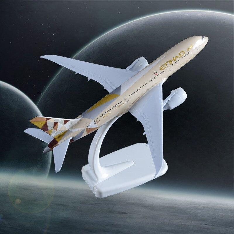 20 cm Etihad Avions Modèle B787 Artisanat Alliage Boeing 787 Avion Aviation Souvenir Adultes Enfants Cadeau D'anniversaire Jouets