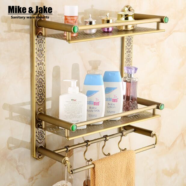 Bathroom antique double brass bathroom shelf with green stone towel holder bathroom shelf with hooks basket for bathroom holder antique double brass bathroom shelf with green stone towel holder bathroom shelf with hooks basket for bathroom holder ssl s49