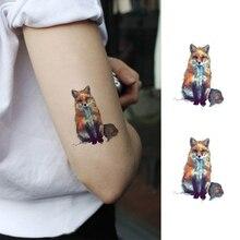 Waterproof Temporary Fake Tattoo Stickers Fox Animals Oil Painting Design Body Art Make Up Tool