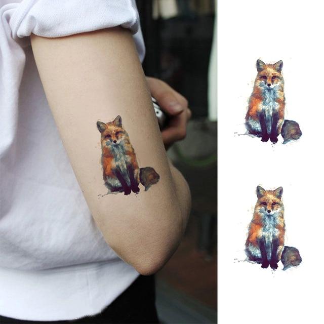 Prova D Gua Temporrios Tatuagem Falsa Adesivos Raposa Animais Pintura A Leo -7146