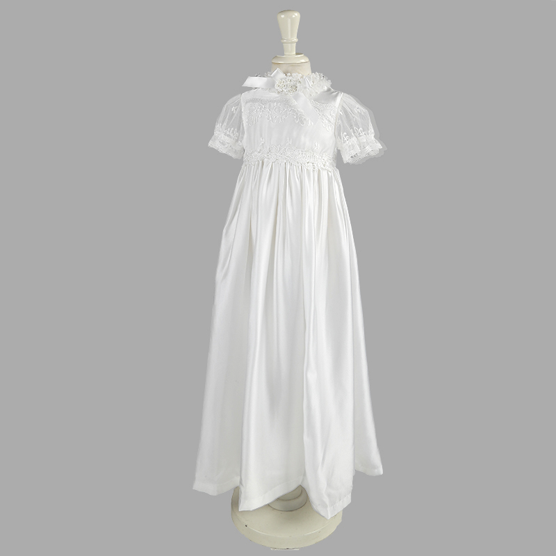 NIMBLE Baby Girl Newborn Christening Long Sleeves Lace Satin Gown Dress 0-9M White