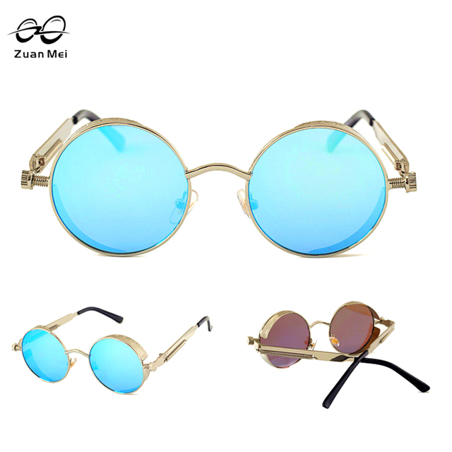 b1050f63cd Zuan Mei Gothic Steampunk Mens Sunglasses Coating Mirrored Sunglasses Round  Circle Sun glasses Retro Vintage Gafas Masculino Sol