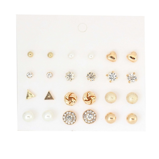 Korea Style 12 Pairs Sets Round Square Ball Alloy Crystal Stud Pearl Earrings For Women Hot-selling Cute Stud Earring