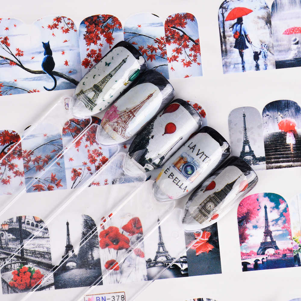 12 Pcs Nail Art Kecantikan Merah Warna-warni Romantis Menara Payung Stiker Kuku Dekorasi Watermark Membungkus Valentine Hadiah TRBN373-384