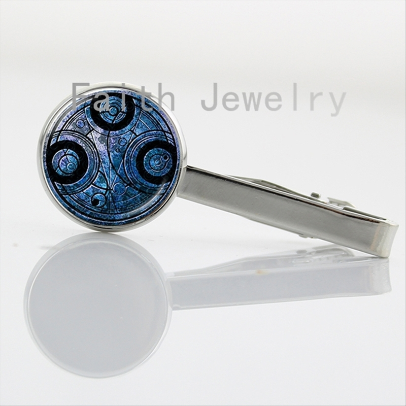 Time Lord Seal tie clips fashion Doctor Who jewelry charm Dr Who time travel handmade Necktie Bar Clasp Clamp Pin NS111