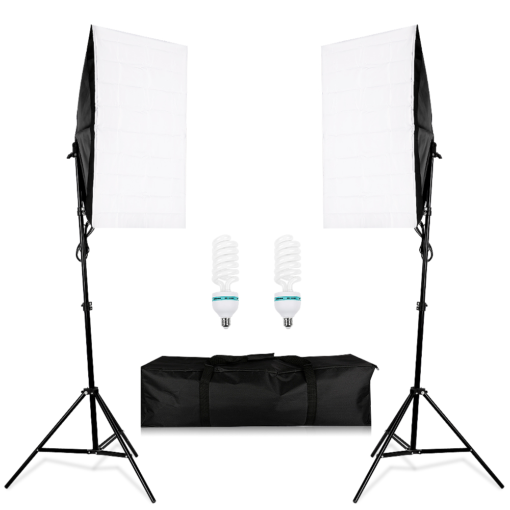 CY Photography Lighting Kit 2pcs 2m light stand +2x50*70CM Wired Softbox E27 Lamp Holder + portable bags Photo Studio kits