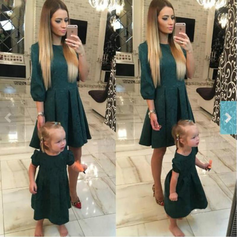New Mother Daughter Dress European And American Dark Green Floral Fashion Sleeves Slim Dress Parent child Wear