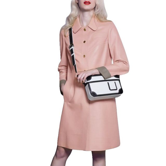 Recommended Goods Fashion POLO Collar Long Women's Woolen Coat Winter 2017 New Pink Single Breasted Winter's Women Coats  F675