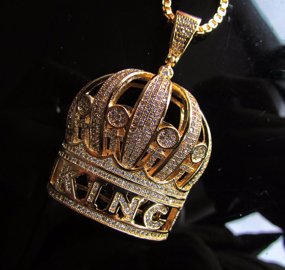 gold color Hip Hop King Crown Pendants Necklace Iced Out zirconia women Necklace 24inch box Chaingold color Hip Hop King Crown Pendants Necklace Iced Out zirconia women Necklace 24inch box Chain