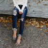 Women's ripped wash skinny jeans 2