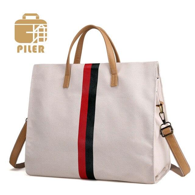 d8ca1ccf7e Canvas Striped Shoulder Bag for Women Fashion Handbag Lady Shopping Tote  Bags Female Simple Handbags Long Strap Working Bag