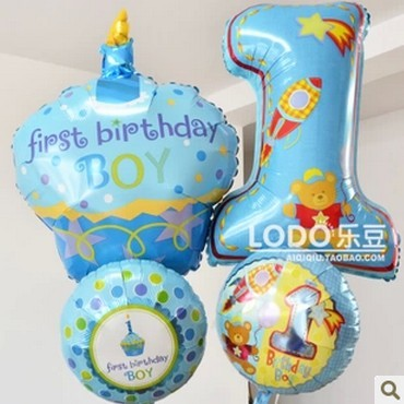 US Anagram Aluminum Foil Balloon boys Baby 1 year old Candle Cake