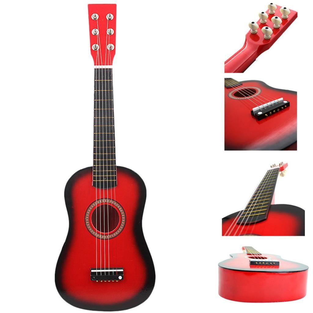 23 pouces 6 cordes en bois Mini guitare acoustique Instrument de musique apprentissage de la musique jouets éducatifs cadeau pour débutant enfants adultes