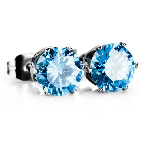 Blue Cubic Zirconia Stainless Steel Studs Earrings 2PCS 5mm ...
