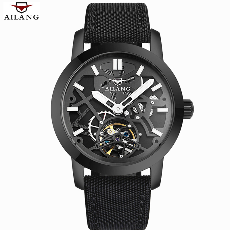 ФОТО AILANG Luxury Brand Automatic Mechanical Watch Men Military Waterproof Wristwatches Canvas Skeleton Watch Relojes Hombre Clock