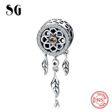 SG 100% 925 Sterling Silver Charms Dream catcher Beads Fit pandora bracelets fashion beads diy Jewelry making for women gifts sg new arrival 925 sterling silver charms dream catcher beads with cz fit pandora bracelets diy jewelry making for women gifts