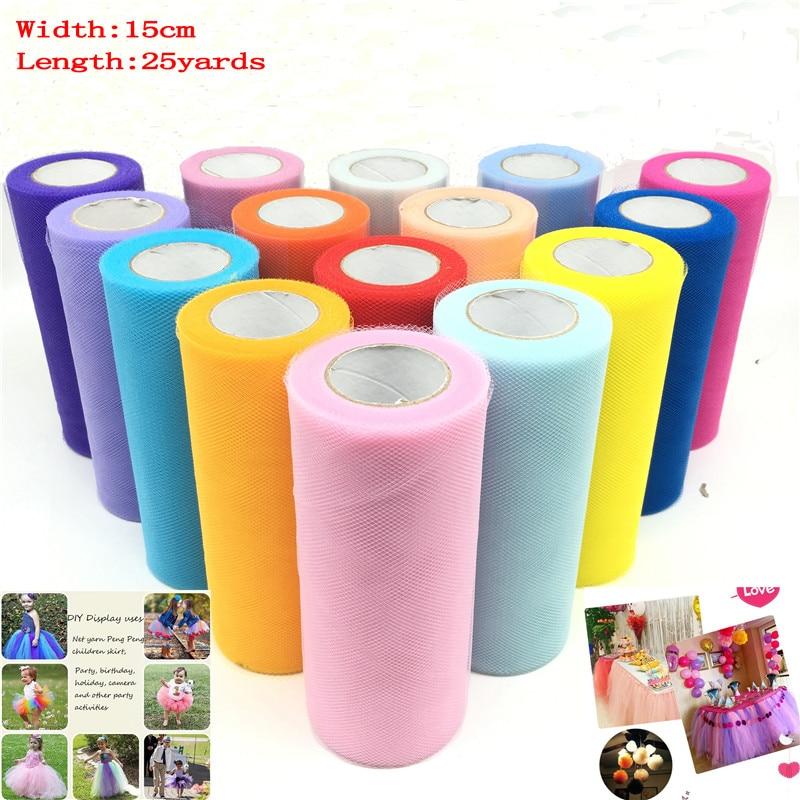 25 yards 15cm Tulle Roll Fabric Spool Tutu Wedding Decoration Baby Shower Organza Laser DIY Crafts Birthday Party Supplies