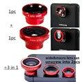 Envío libre Magnético 3 en 1 lente para teléfonos móviles 0.67 0.67xwide angle lente macro 180 fish eye kit cámara fijó para apple iphone CL-1-2