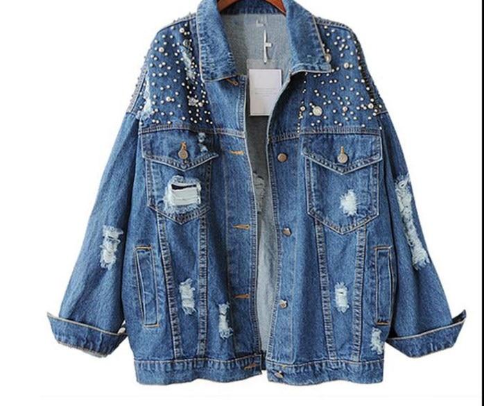 font b Women b font Autumn Loose Fashion Wild Bead Diamond Denim font b Jacket