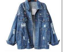Women Autumn Loose Fashion Wild Bead Diamond Denim Jacket Cotton Casual Lapel Hole Denim Jacket