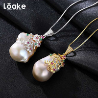 Loake Nature Pearl Pendant Necklace Sterling 925 Silver High Quality Neck Luxury Accessories For Women Fashion