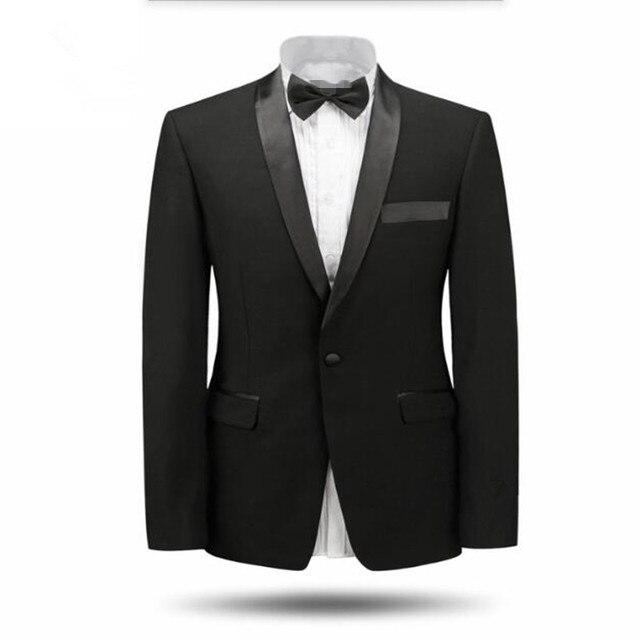 Белый и черный мужские костюмы куртка воротником смокинги свадебные куртка сшитое мода формальные деловые костюмы куртка