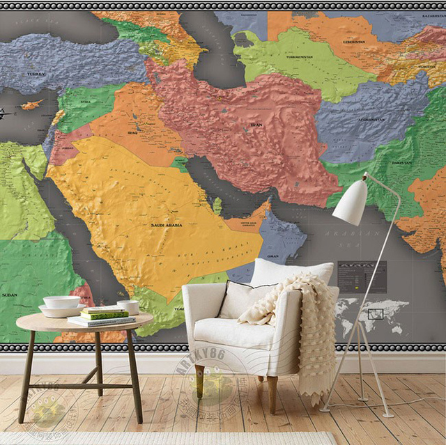 ShineHome Large Middle East World Map Mural Living Room Bedroom