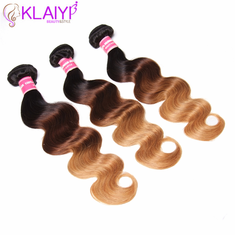 KLAIYI Pre-Colored Body Wave Brazilian Ombre Hair Remy Human Hair Bundles With Three Tones Color Hair Extension 16