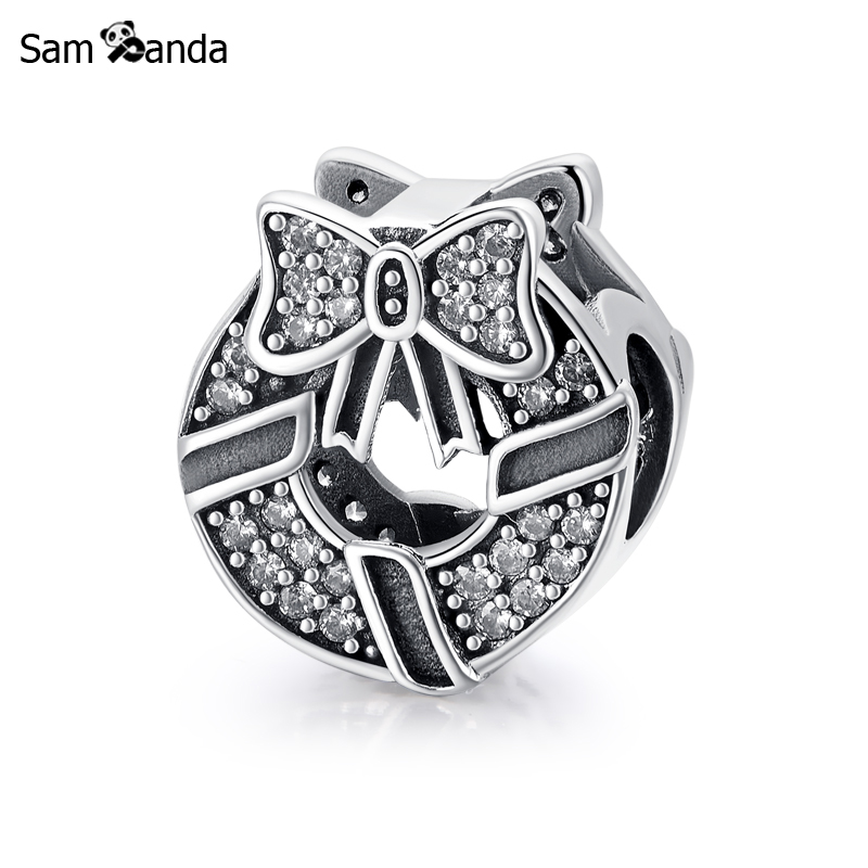 Authentic 100% 925 Sterling Silver Charm Bead Silk With Bowknot Fit Pandora Charm Bracelets & Bangles DIY Fine For Women Jewelry