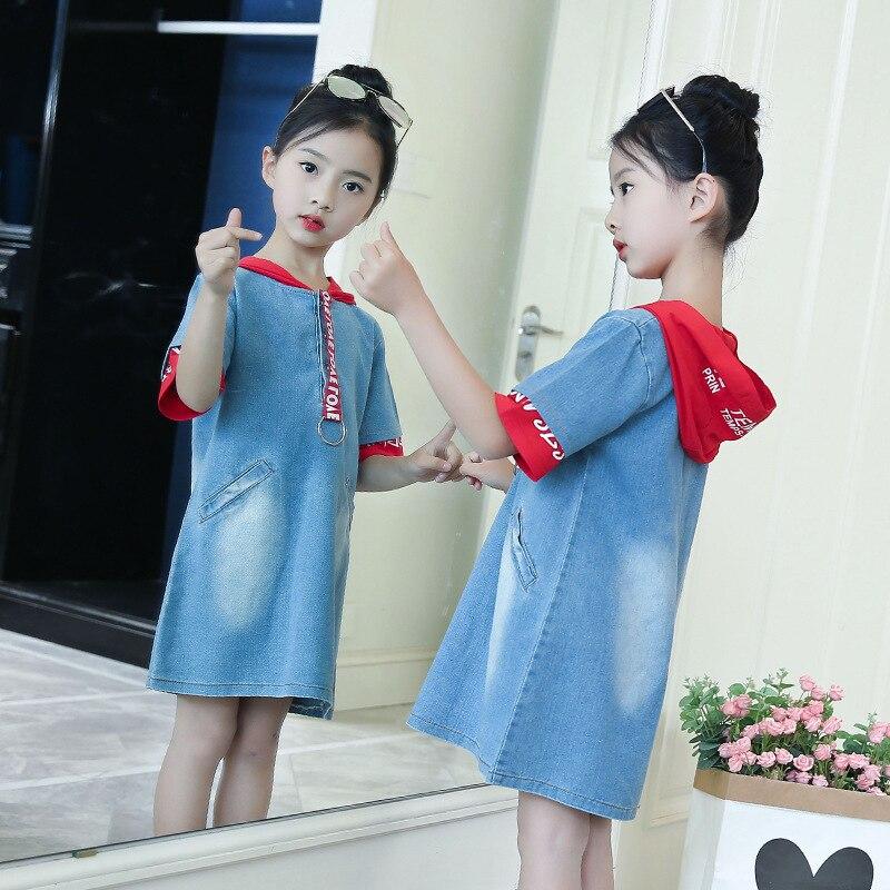2018 Rlyaeiz Kids Dress For Girls 2018 Children Chothing Short Sleeve Hoodies Janes Dresses Clothes Patchwork Hooded Denim Dress