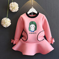 Lolita style cotton dress girls autumn dress long sleeve children costume cute cartoon kids princess dress for party clothes
