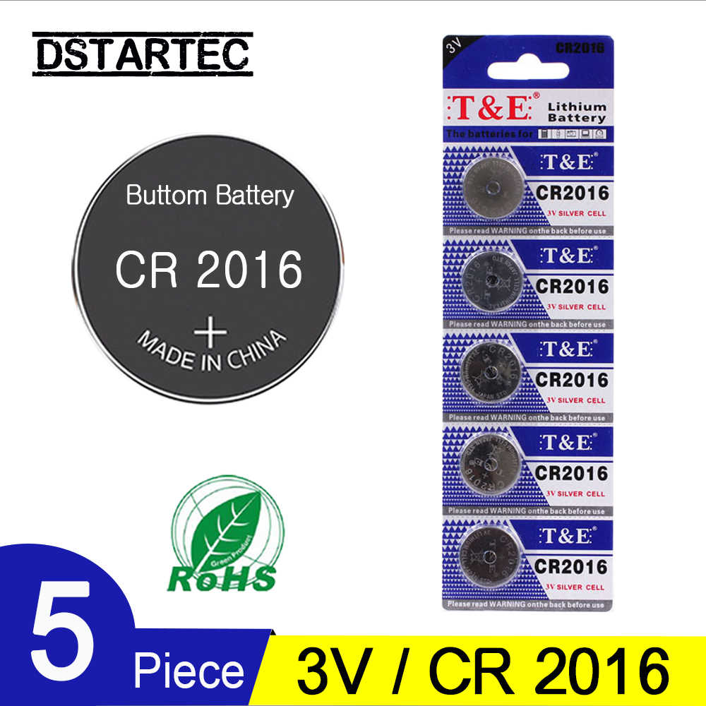5PCS=1 Card 3V CR2016 Lithium Button Cell Battery LM2016 BR2016 DL2016 KCR2016 CR 2016 CR-2016 Coin Cell Batteries; 30 mAh
