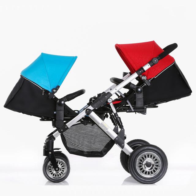 Novo Luxo Europeu Paisagem Folding Viagem Stroller Bebês Carros Para Dois Bebês Crianças China Carrinho de Gêmeos Carrinhos Carrinho de Bebé