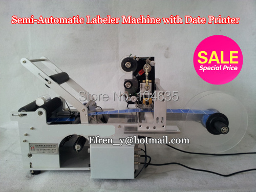Free shipping !Free Semi-automatic Round Bottle Labeling Machine Labeler LT-50 with Printer Code+Stainless Steel ,label sticker
