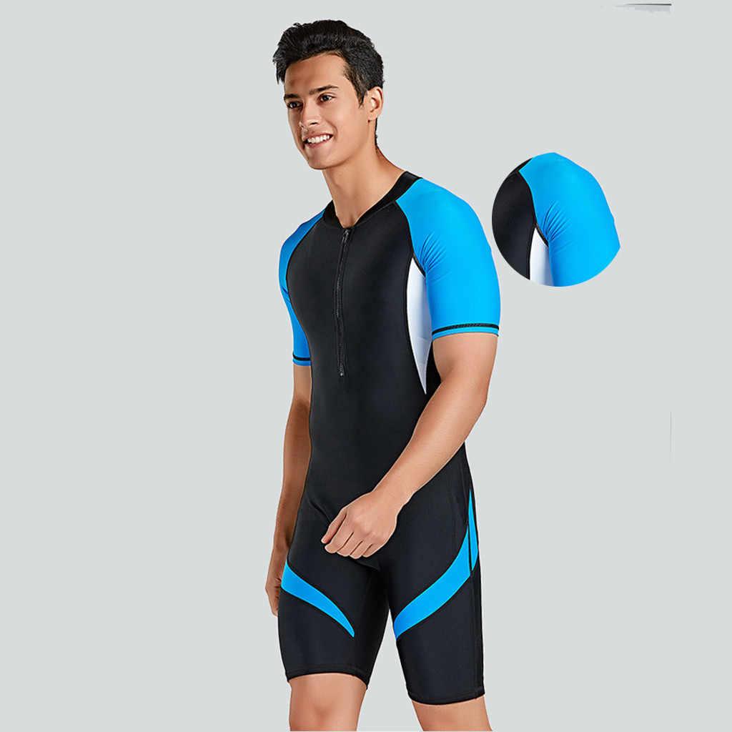 Perimedes neoprenowy męski tylny suwak Shorty z długim rękawem mężczyźni ochrona UV kombinezon zapobieganie kombinezon Scuba kombinezon do nurkowania wysypka straż # g45