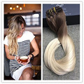 Full Shine Clip in Human Hair Extension Brazilian Remy Human Hair 7 Pcs per pack Balayage Color 6B Ombre Color 613 Straight Hair